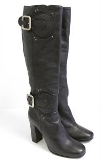 Chloe Black Buckle Knee High Boots NEW