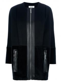 HEOHWAN SIMULATION wool leather ponyskin coat black
