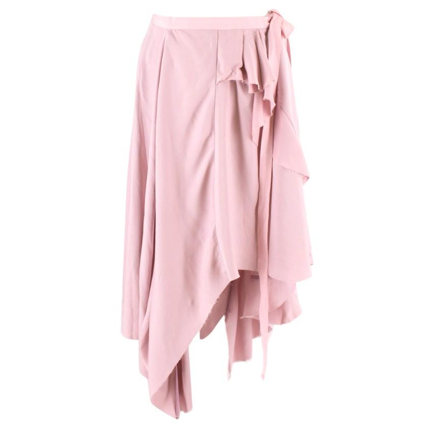 Erika Cavallini Pale Pink Asymmetric Ruffled Skirt