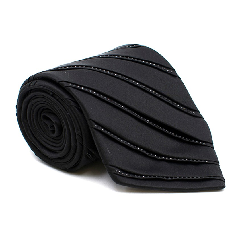 9f39a2f3f20b Stefano Ricci Black Striped Crystal Tie | HEWI London