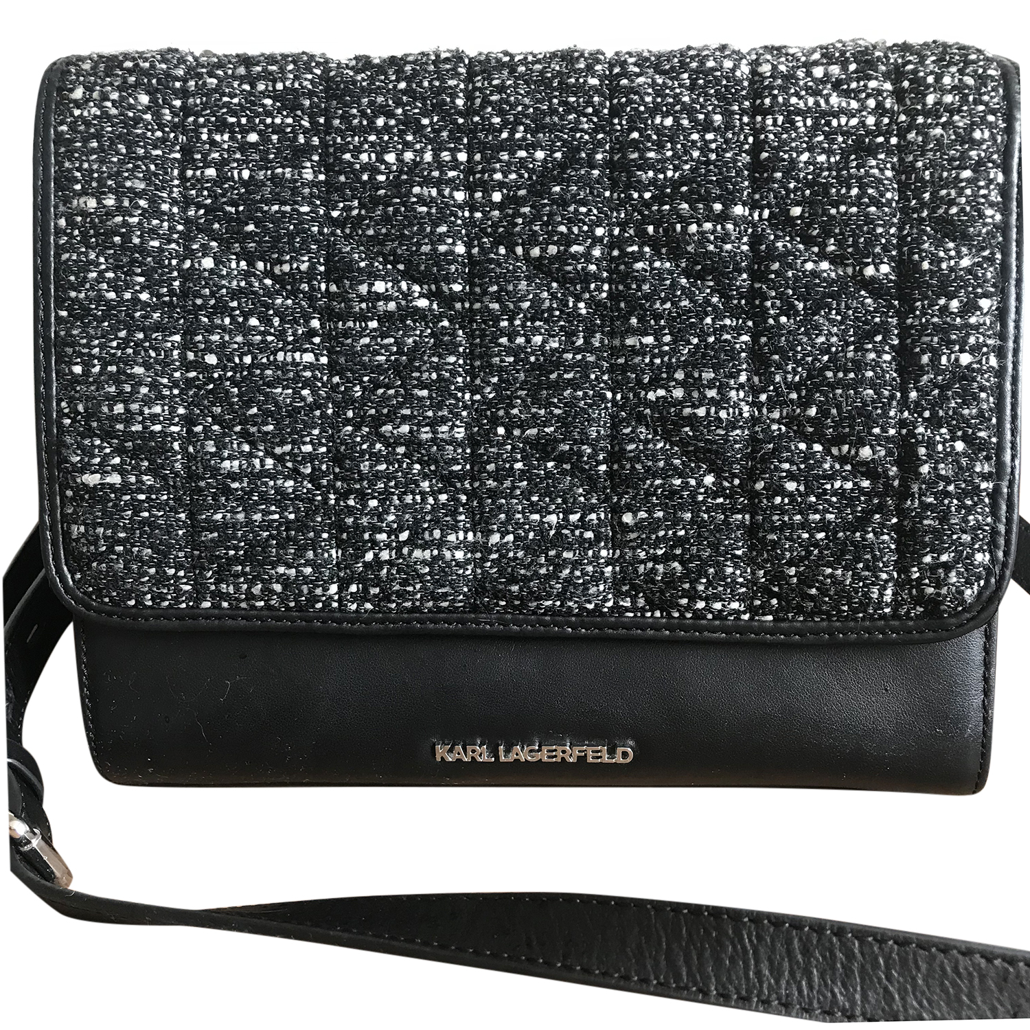 Karl Lagerfeld Leather & Tweed Flap Bag