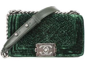 Chanel Green Small Velvet Boy Bag