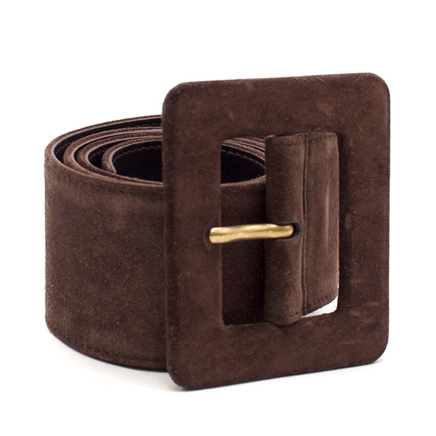 34a3cc3749eda Yves Saint Laurent Vintage Brown Suede Wide Waist Belt