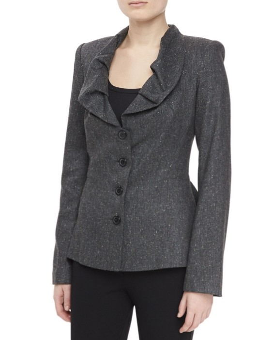 Zac Posen ruffle neck tweed jacket