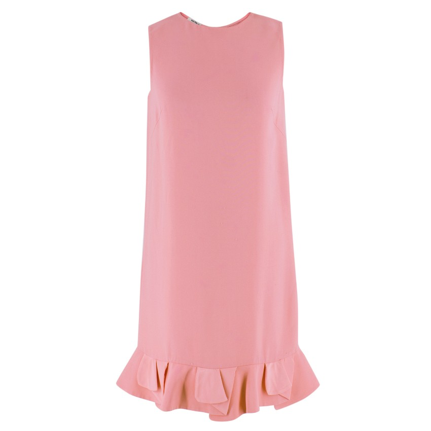 Miu Miu Pink Ruffled Sleeveless Shift Dress