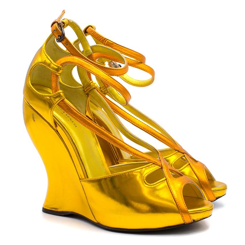 9ccbebf42 Bottega Veneta Gold Metallic Strappy Wedges | HEWI London