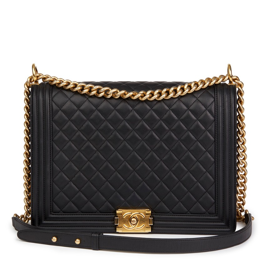 0ff82b4583d8 Chanel Black Quilted Lambskin Large Le Boy Bag | HEWI London