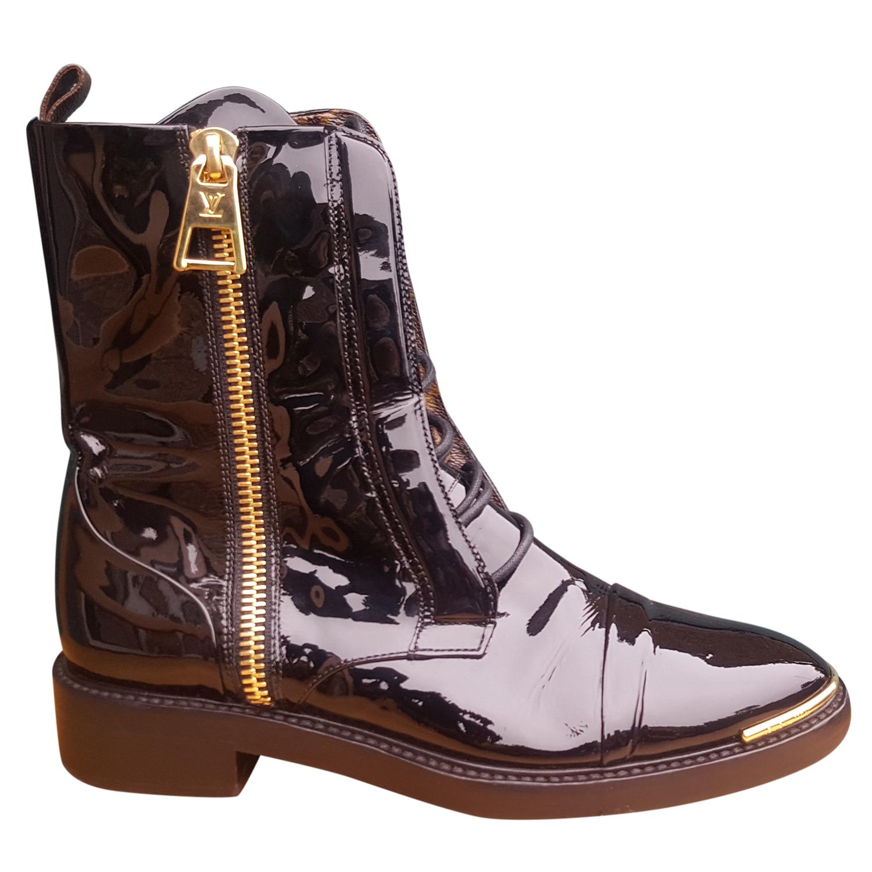a6a262f6d535 Louis Vuitton Patent Calf Monogram Macadam Ranger Combat Boots ...