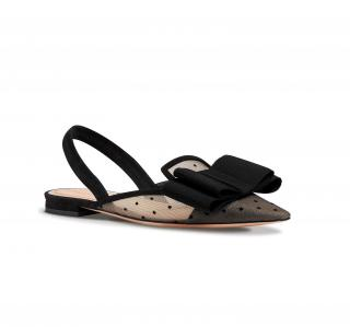 Dior nude and black dotted swiss tulle slingback flat sandals