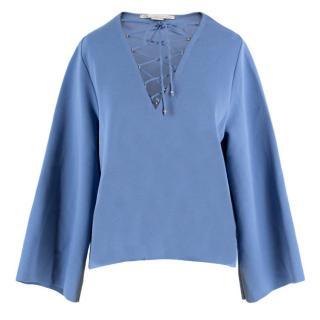 Stella McCartney Blue Lace Up Blouse