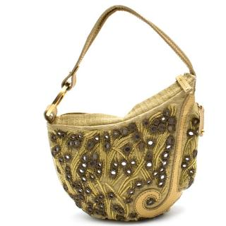 Fendi Gold Embroidered Mirror Bag