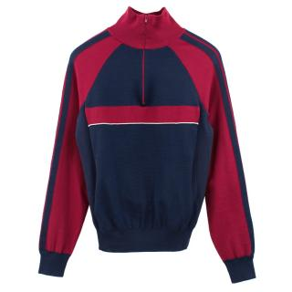 Chloe Red & Navy Silk Sport Sweater