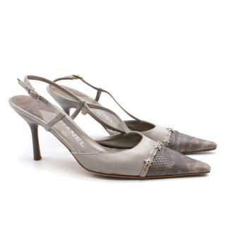 Chanel Embellished Kitten Heel Slingback Sandals