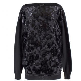 Lanvin Wool Blend Metallic Floral Bateau Jumper