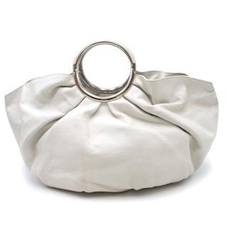 Dior White Leather Bracelet Bag