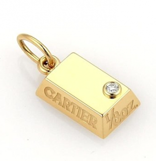 Vintage Cartier 18 ct Yellow Gold 1/8oz 0.2 ct Diamond Ingot Pendant