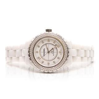 Chanel J12 White Ceramic Diamond Bezel Watch