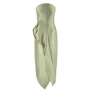 Giorgio Armani Green Strapless Ruffled Asymmetric Gown