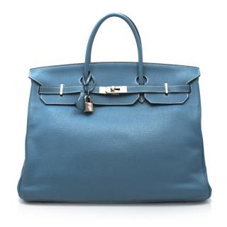 Hermes Blue Jean Clemence Leather 40cm Birkin Bag