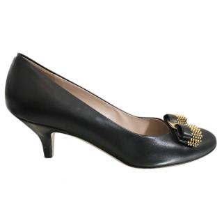 Salvatore Ferragamo Black Bow Embellished Kitten Heel Pumps