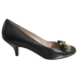 Salvatore Ferragamo Black Bow Embellished Kitten Heel Pumps