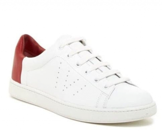 Vince White & Cherry Leather Low-Top Sneakers