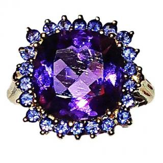 Bespoke Amethyst & Tanzanite Gold Setting Cocktail Ring