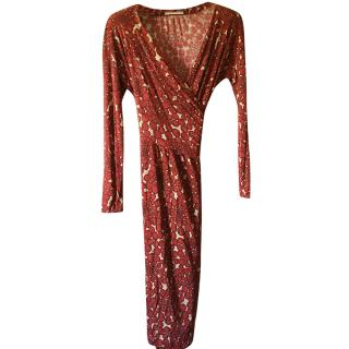 Nicole Farhi Red Silk Wrap Dress