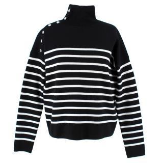 Maje Striped High Neck Wool Blend Jumper