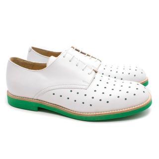 T&F Slack Shoemakers London Handmade White Derby Shoes