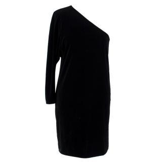 Theory Black Velvet One Shoulder Dress