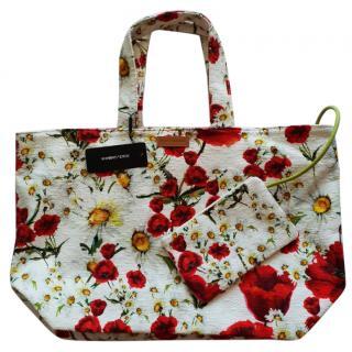 Dolce & Gabbana white & red floral beach bag