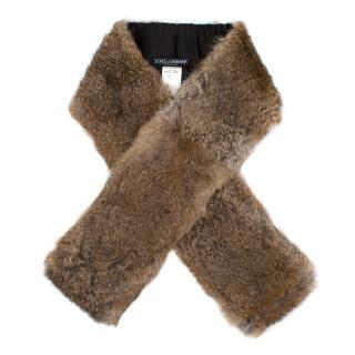Dolce & Gabbana Brown Rabbit Fur Stole