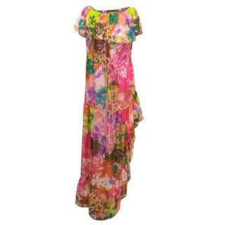 Camilla Floral Beaded Asymmetric Bardot Dress