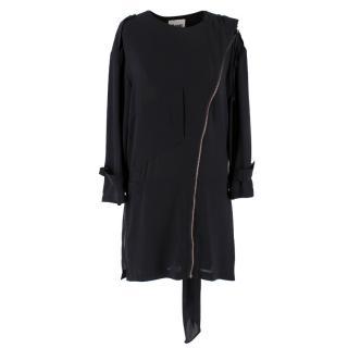 Acne Black Oversize Asymmetric Zip Dress