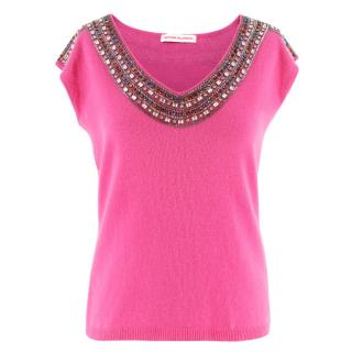 Matthew Williamson Pink Embellished Cashmere Top