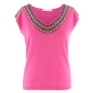 Matthew Williamson Pink Embellished Cashmere Top