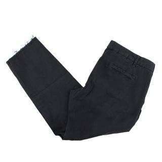 Nili Lotan Stretch Cotton Raw Hem Trousers