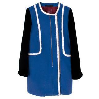 Wondaland Cobalt Blue Collarless Velvet Sleeve Coat