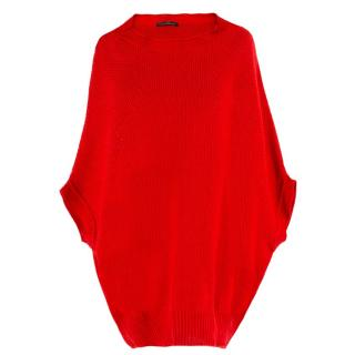 CH Carolina Herrera Red Knit Cape Jumper