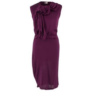 Lanvin Purple Ruffled Midi Dress