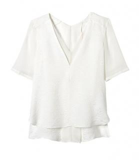 Rebecca Taylor White Textured Silk V-Neck Top