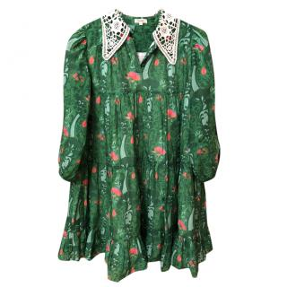 Manoush Green Floral Print Tiered Dress