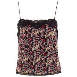 Anna Sui Silk Floral Vest Top