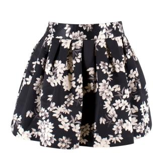 Alice + Olivia Black Floral Mini Tulip Skirt