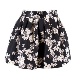 Alice + Olivia Black Floral Mini Tulip Skirt