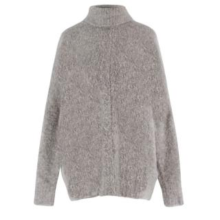 Sand Grey Oversized Knit Wool Jumper