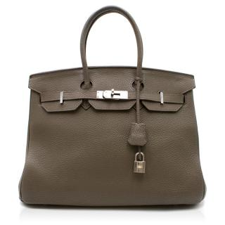Hermes Etoupe Clemence Leather 35cm Birkin Bag