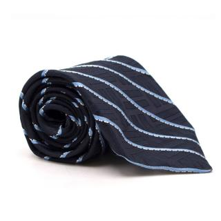 Valentino Navy Striped Silk Tie