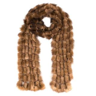 Bespoke Light Brown Rabbit Fur Knit Scarf